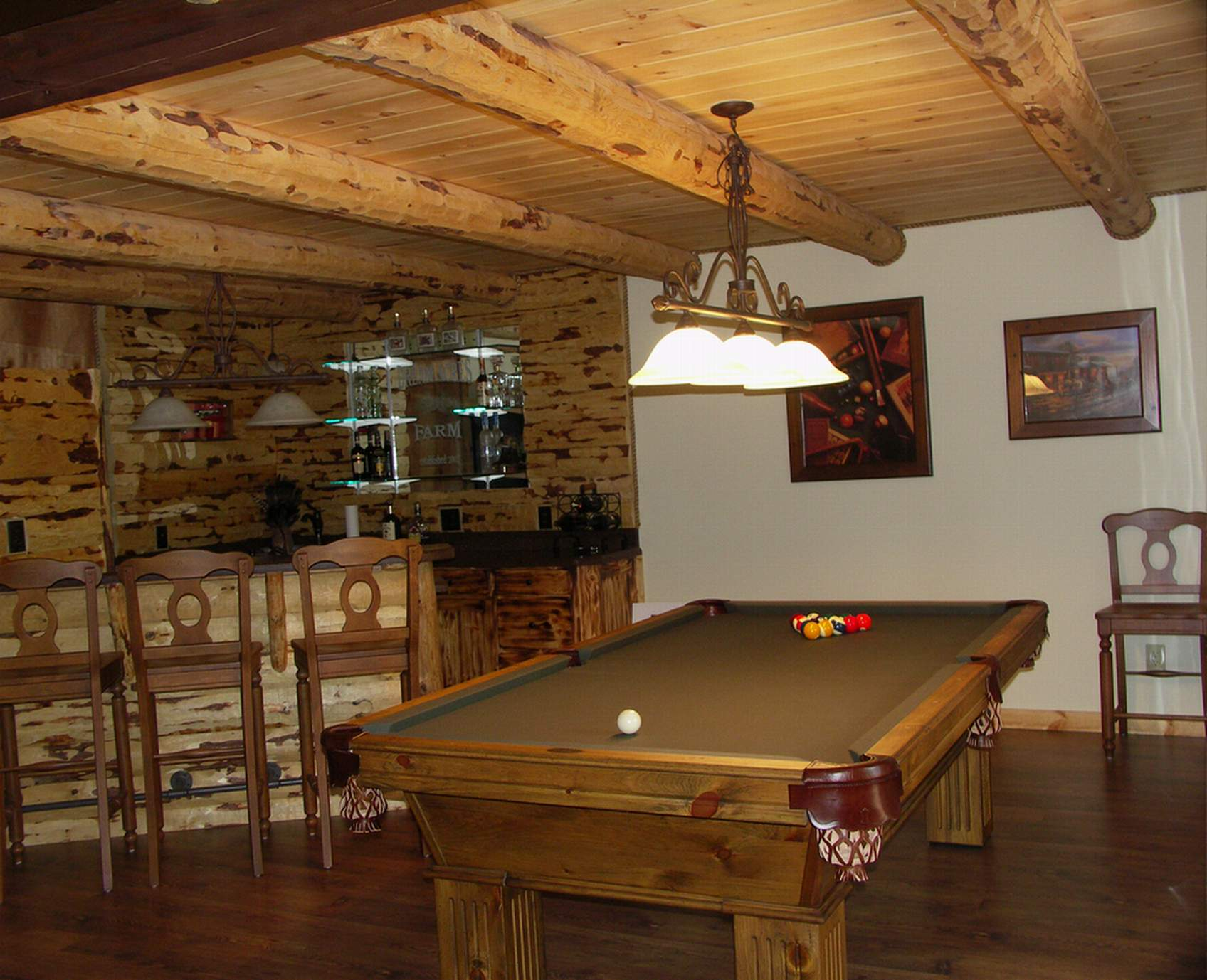 Model home country rustic dream home Basement game room ideas