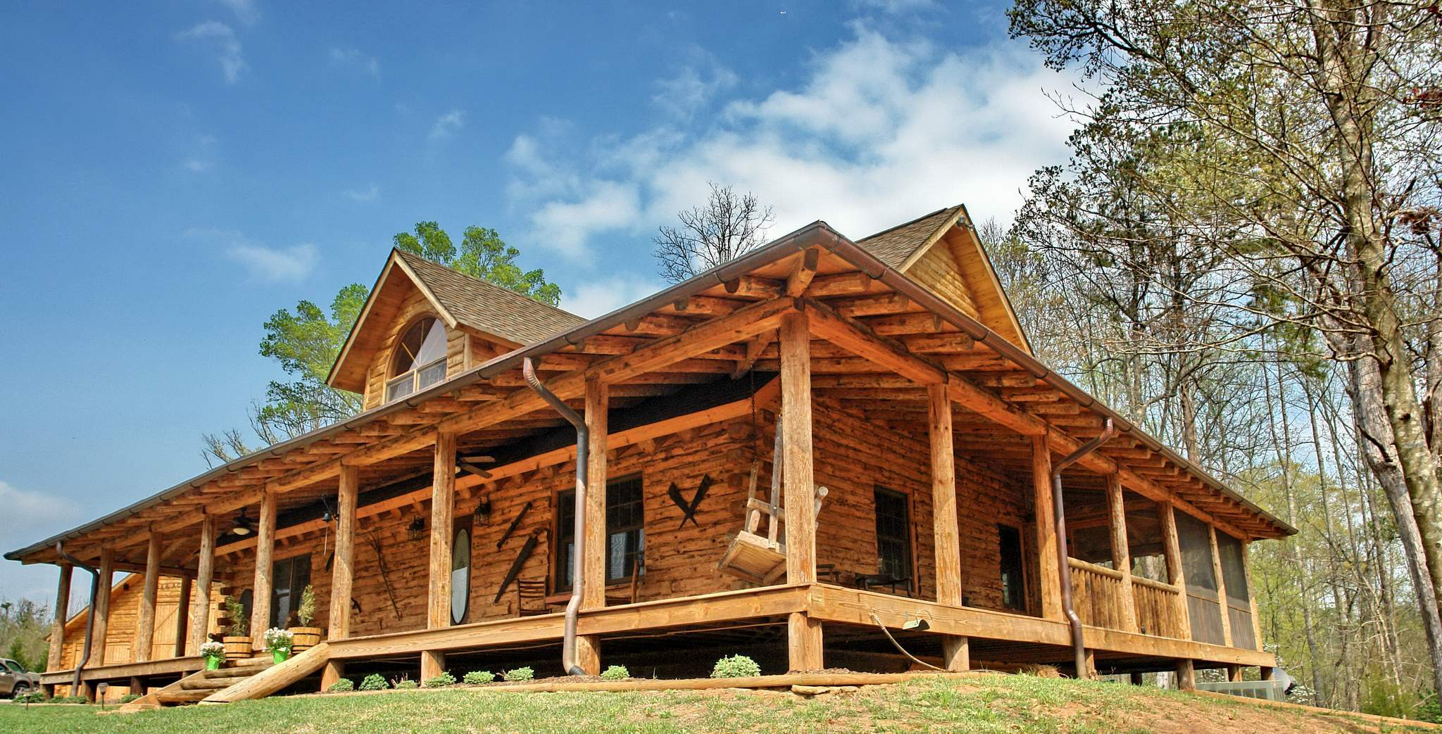Small cabin plans with loft and porch joy studio design for Log home porches